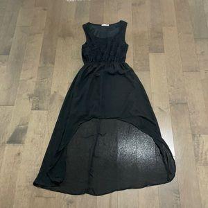 Black lace detail high-low dress